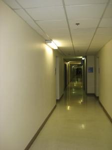 Warm, welcoming halls of Veteran's Hospital.