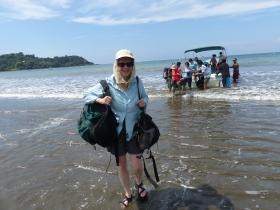 Laura hits the beach near Corcovado Natl Park, Costa Rica.