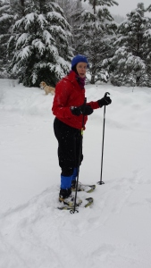 Laura in snowshoes, Leavenworth