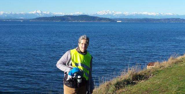 Parky pauses at Puget Sound, Olympic Mts. in background.