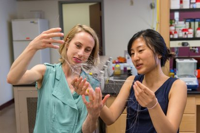 Cat's cradle at the lab? Researchers examine flexible neural recording fibers. Credit: UW
