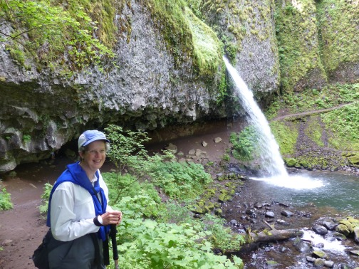 Laura by one of many Gorge waterfalls, within 50 miles of Portland.