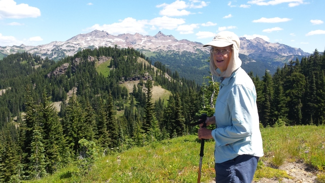 "Laura in ""Lawrence-of-Arabia"" hiking cap, Goat Rocks Wilderness"
